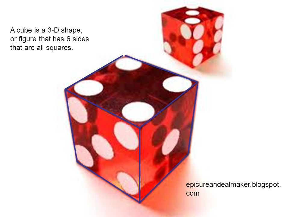 A cube is a 3-D shape, or figure that has 6 sides that are all squares.