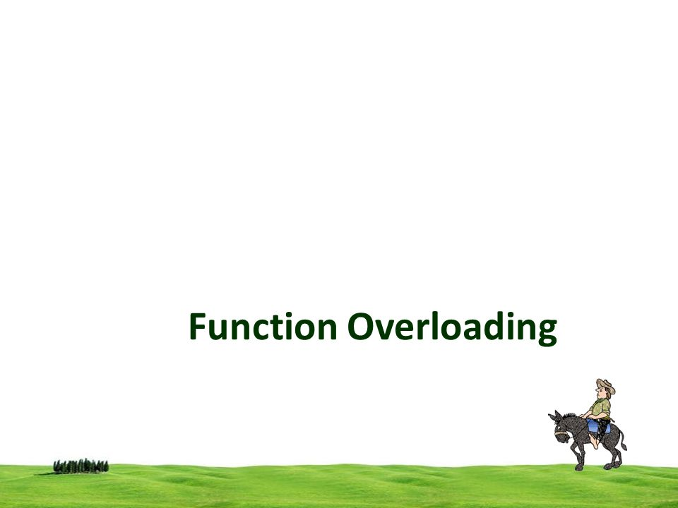 2 Function Overloading (Function Polymorphism) Function overloading is a feature of C++ that allows to create multiple functions with the same name, but they have different parameters But overloading of functions with different return types are not allowed.