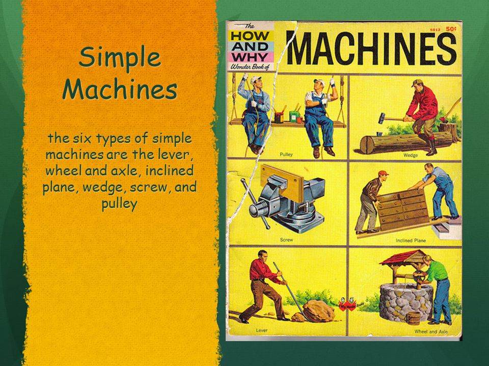 Simple Machines Pulley, Screw, and Wheel & Axel Pulley, Screw, and Wheel & Axel the six types of simple machines are the lever, wheel and axle, inclined plane, wedge, screw, and pulley