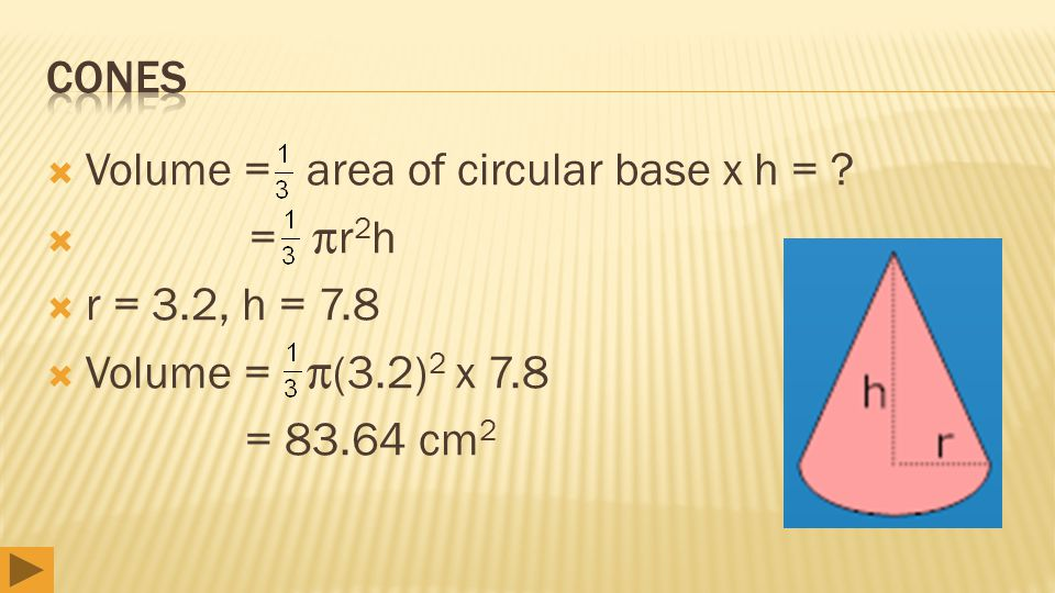  Volume = area of circular base x h = ?  = r 2 h  r = 3.2, h = 7.8  Volume = (3.2) 2 x 7.8 = 83.64 cm 2