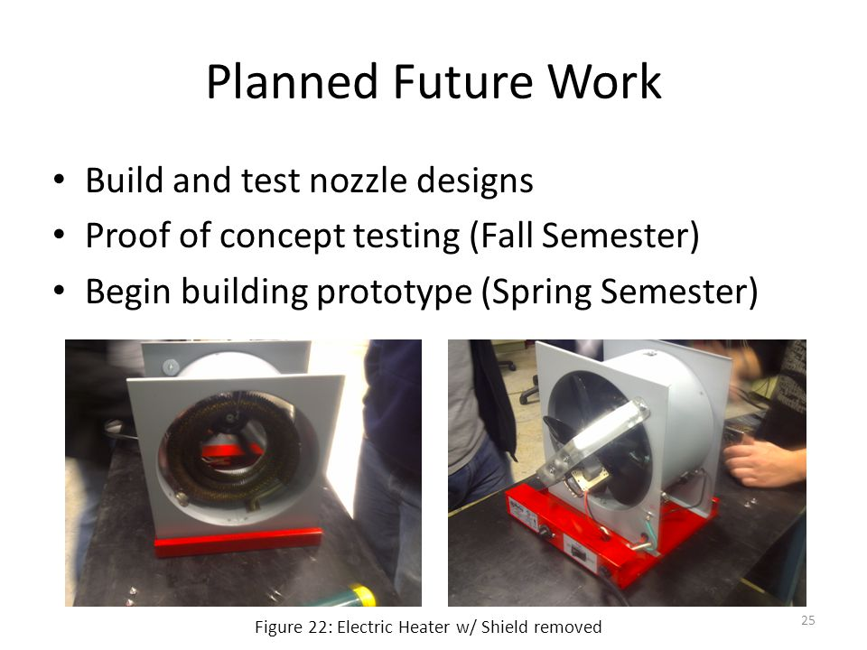 Planned Future Work Build and test nozzle designs Proof of concept testing (Fall Semester) Begin building prototype (Spring Semester) Figure 22: Electric Heater w/ Shield removed 25