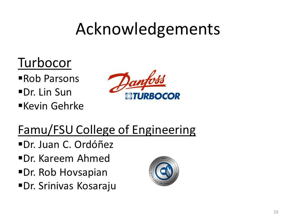 Acknowledgements 26 Turbocor  Rob Parsons  Dr.