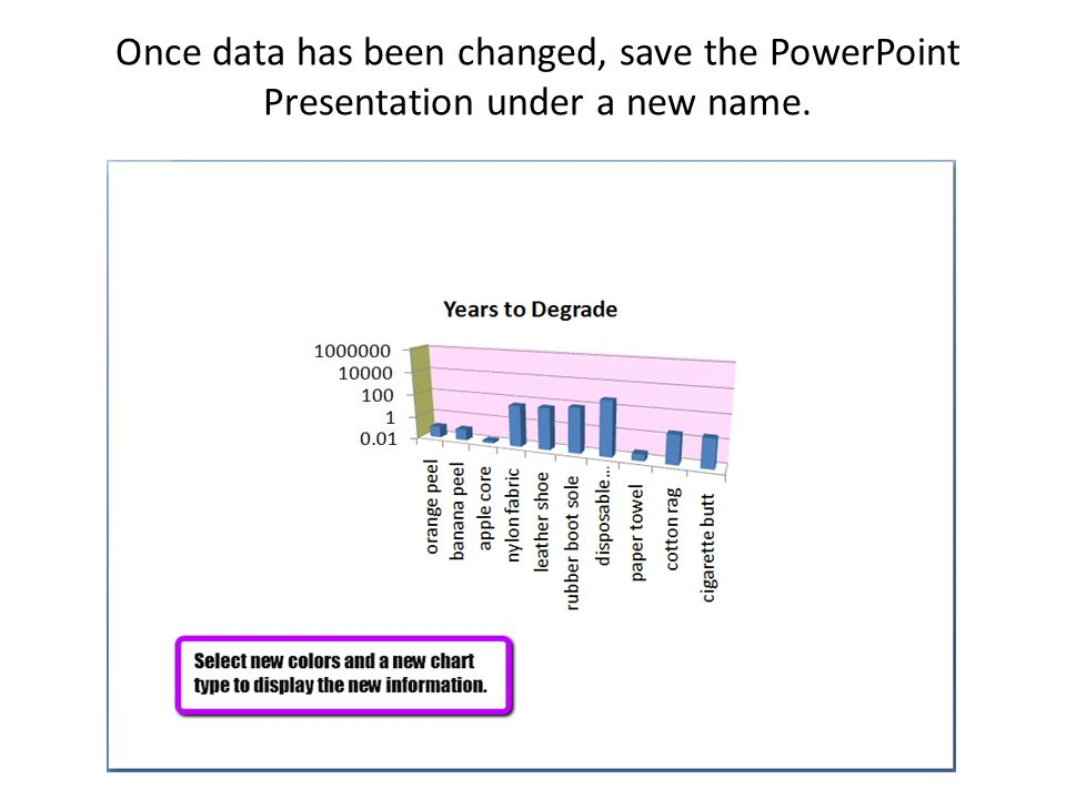 Once data has been changed, save the PowerPoint Presentation under a new name.