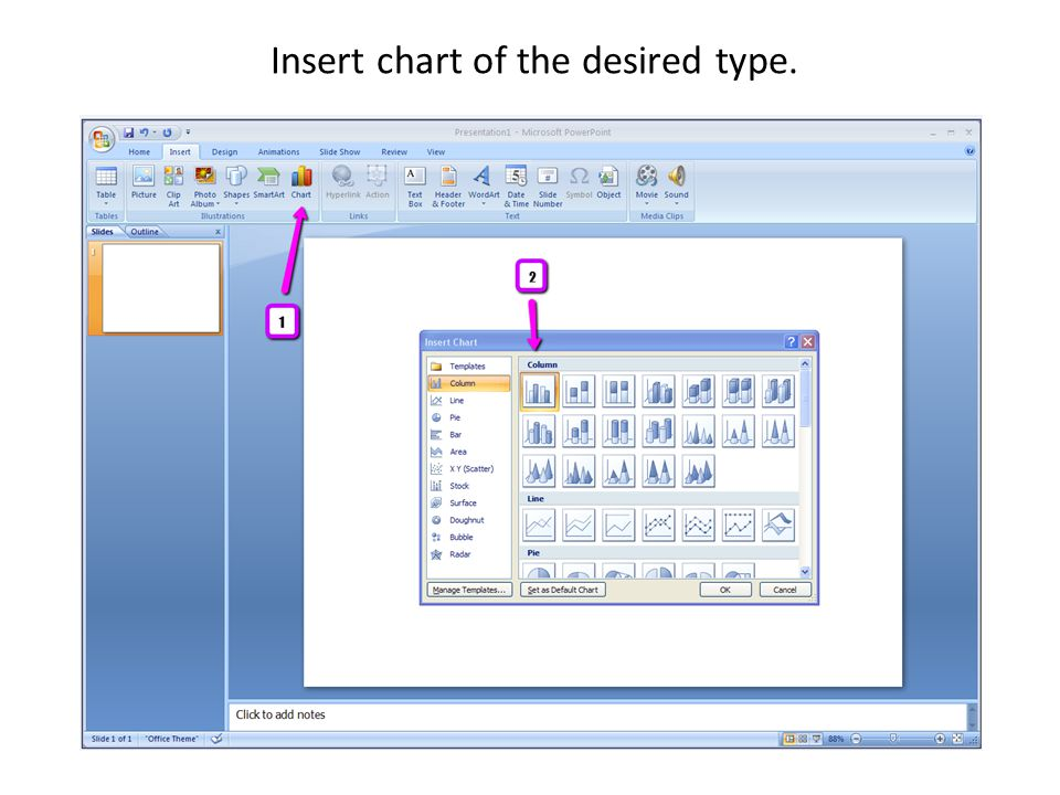 Insert chart of the desired type.