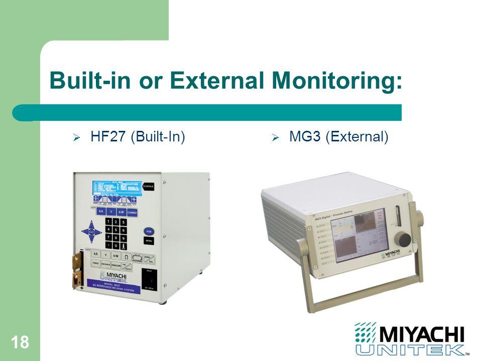 18 Built-in or External Monitoring:  HF27 (Built-In)  MG3 (External)