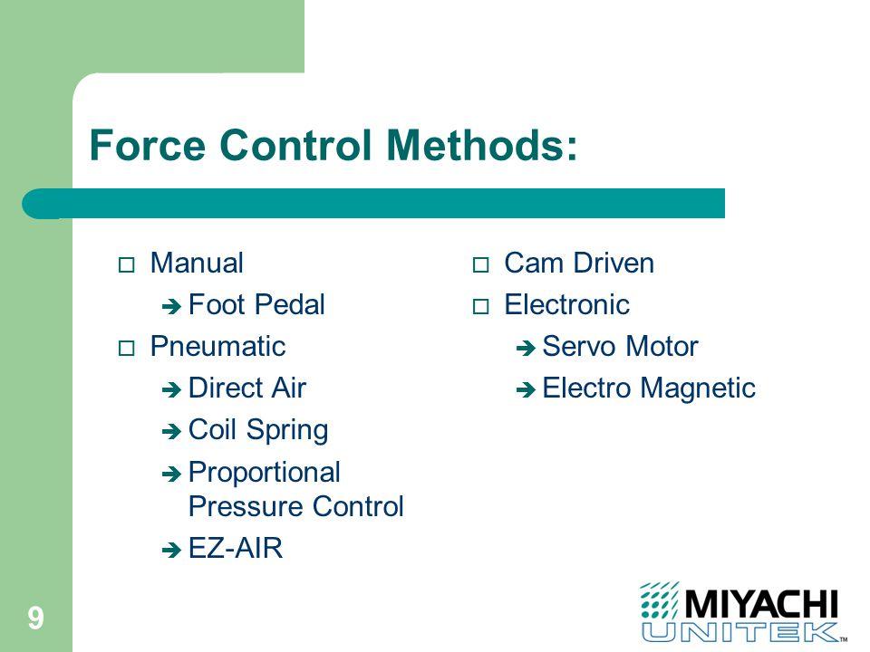 9 Force Control Methods: o Manual è Foot Pedal o Pneumatic è Direct Air è Coil Spring è Proportional Pressure Control è EZ-AIR o Cam Driven o Electronic è Servo Motor è Electro Magnetic