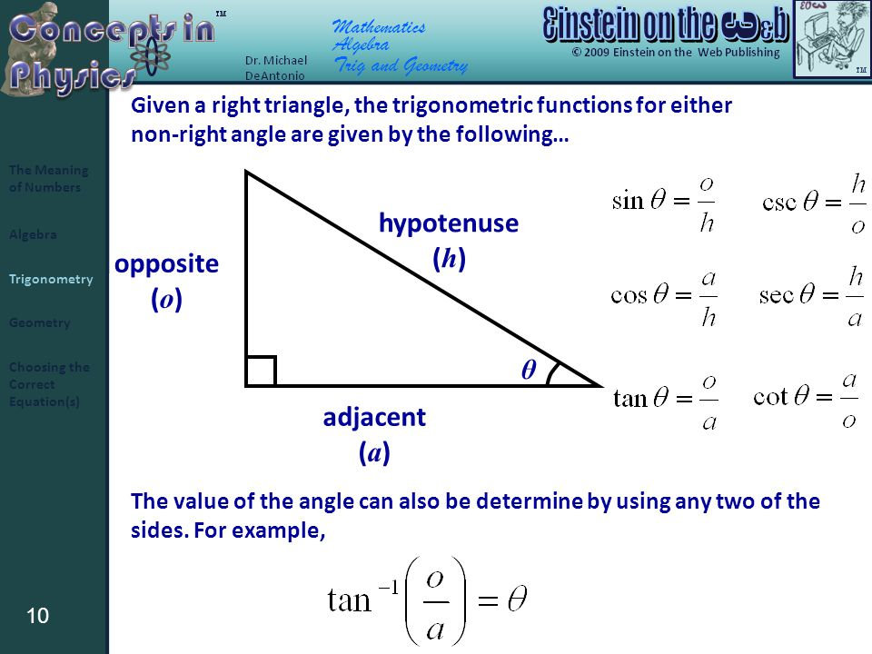 10 Algebra Trigonometry Geometry The Meaning of Numbers Choosing the Correct Equation(s) Mathematics Algebra Trig and Geometry Given a right triangle, the trigonometric functions for either non-right angle are given by the following… θ hypotenuse ( h ) opposite ( o ) adjacent ( a ) The value of the angle can also be determine by using any two of the sides.