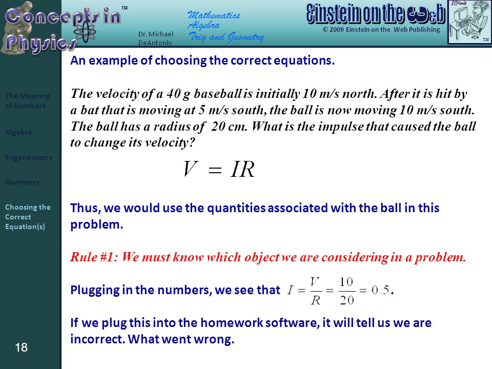 18 Algebra Trigonometry Geometry The Meaning of Numbers Choosing the Correct Equation(s) Mathematics Algebra Trig and Geometry An example of choosing