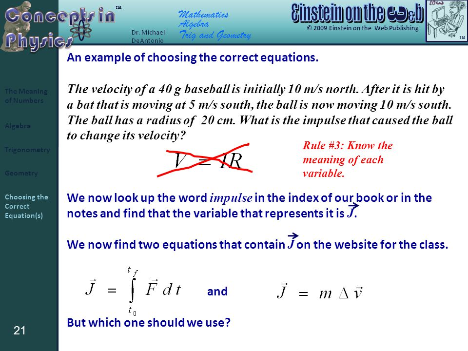 21 Algebra Trigonometry Geometry The Meaning of Numbers Choosing the Correct Equation(s) Mathematics Algebra Trig and Geometry An example of choosing