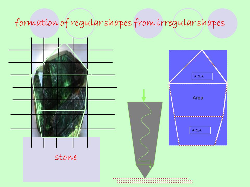 formation of regular shapes from irregular shapes stone Area AREA