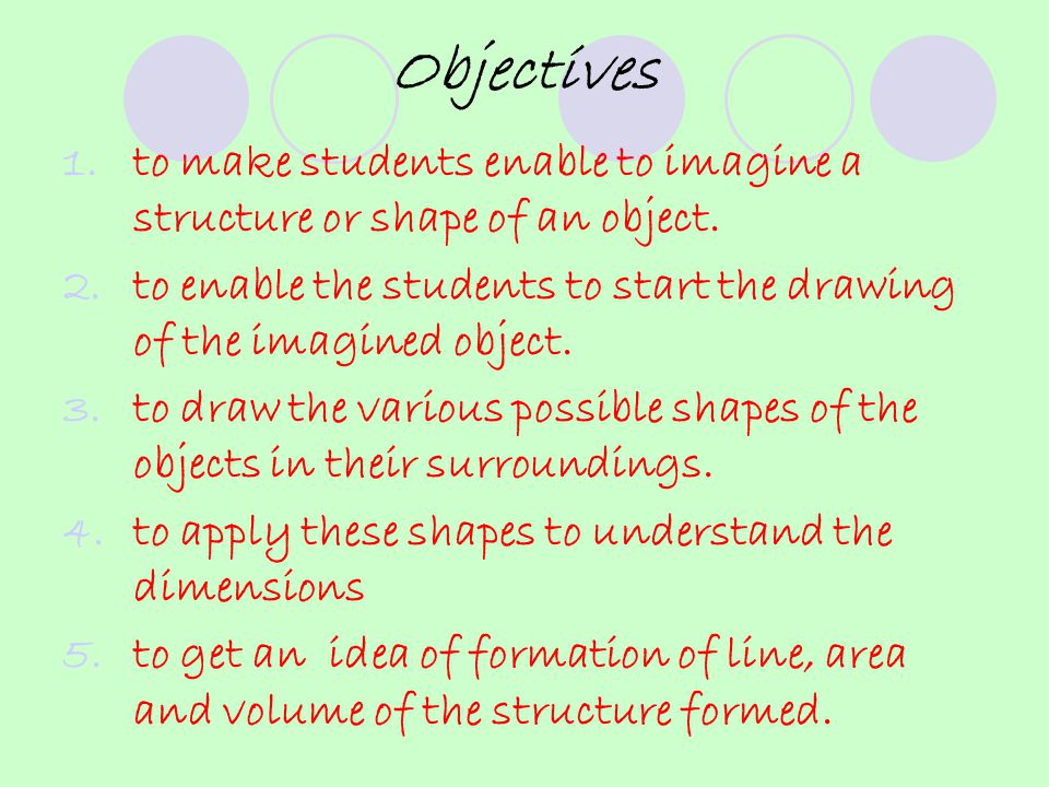 Objectives 1.to make students enable to imagine a structure or shape of an object.