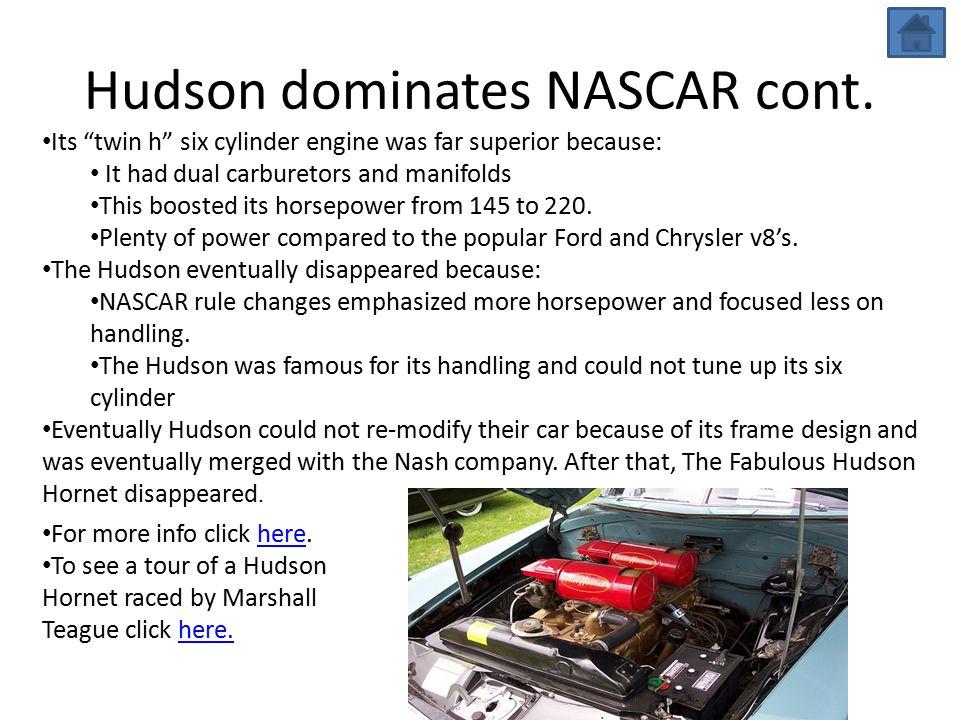 Hudson dominates NASCAR cont.