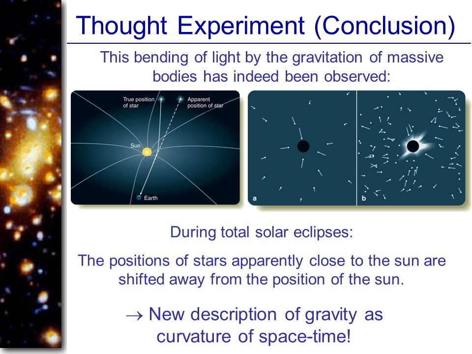 Thought Experiment (Conclusion)  New description of gravity as curvature of space-time.