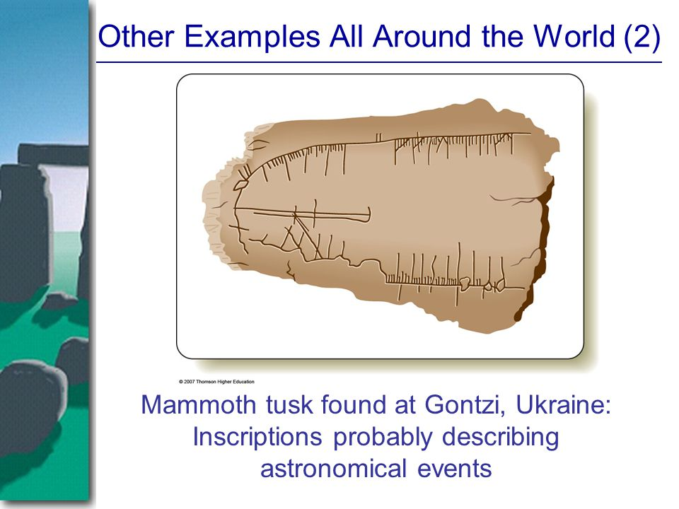Other Examples All Around the World (2) Mammoth tusk found at Gontzi, Ukraine: Inscriptions probably describing astronomical events