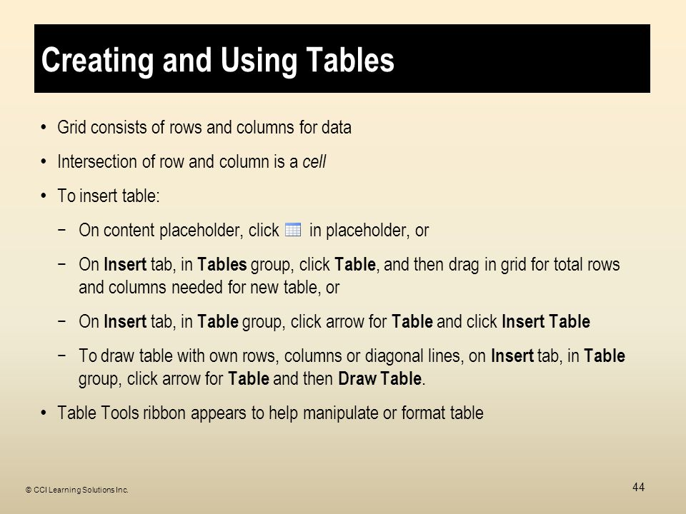 Creating and Using Tables Grid consists of rows and columns for data Intersection of row and column is a cell To insert table: −On content placeholder, click in placeholder, or −On Insert tab, in Tables group, click Table, and then drag in grid for total rows and columns needed for new table, or −On Insert tab, in Table group, click arrow for Table and click Insert Table −To draw table with own rows, columns or diagonal lines, on Insert tab, in Table group, click arrow for Table and then Draw Table.