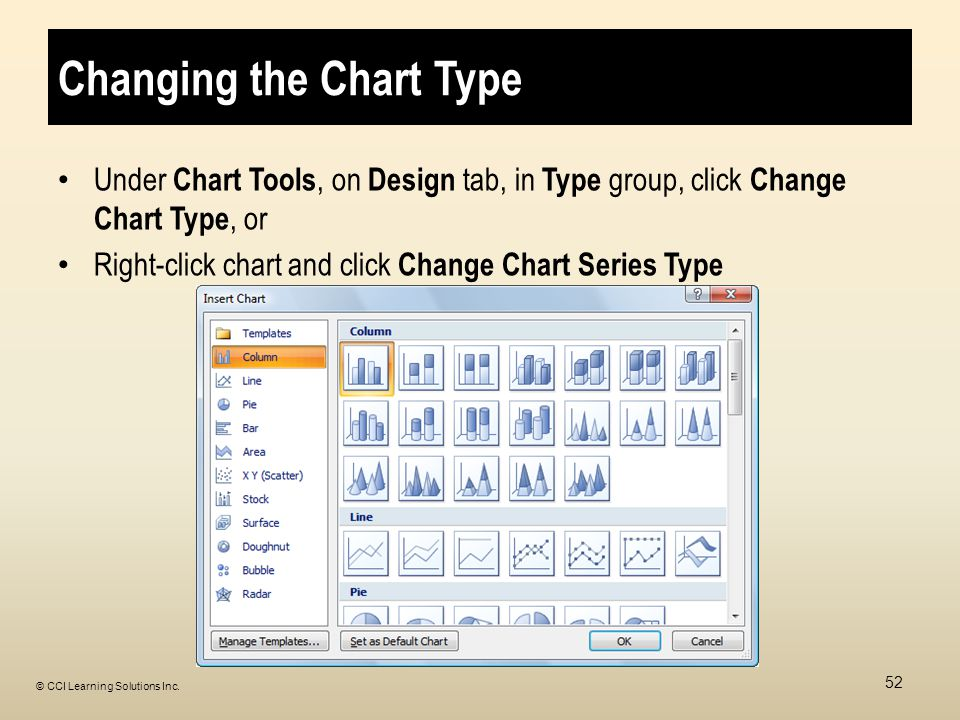 Changing the Chart Type Under Chart Tools, on Design tab, in Type group, click Change Chart Type, or Right-click chart and click Change Chart Series Type 52 © CCI Learning Solutions Inc.