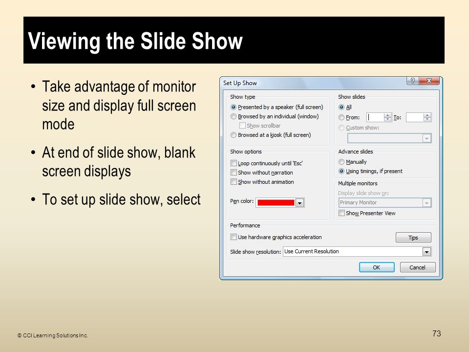 Viewing the Slide Show Take advantage of monitor size and display full screen mode At end of slide show, blank screen displays To set up slide show, select 73 © CCI Learning Solutions Inc.