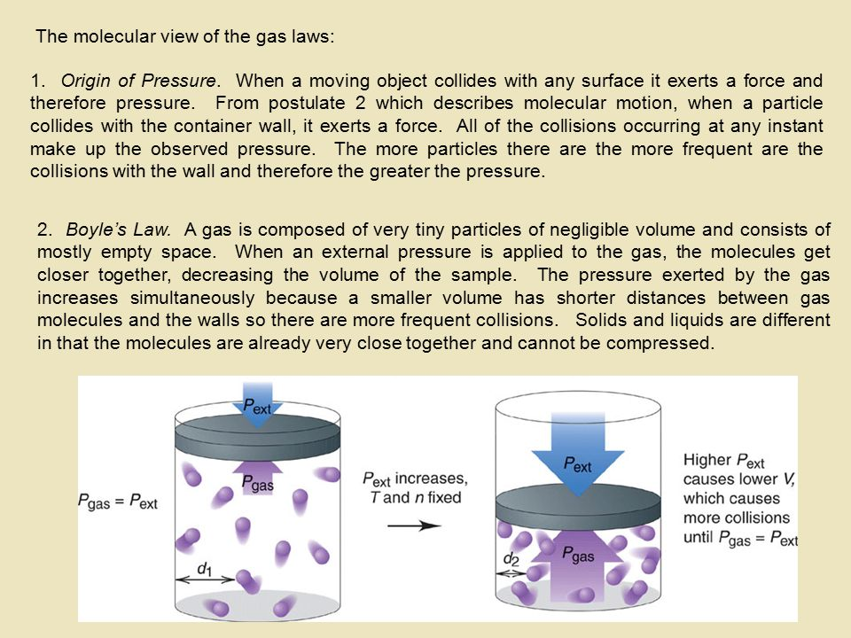 The molecular view of the gas laws: 1. Origin of Pressure. When a moving object collides with any surface it exerts a force and therefore pressure. Fr