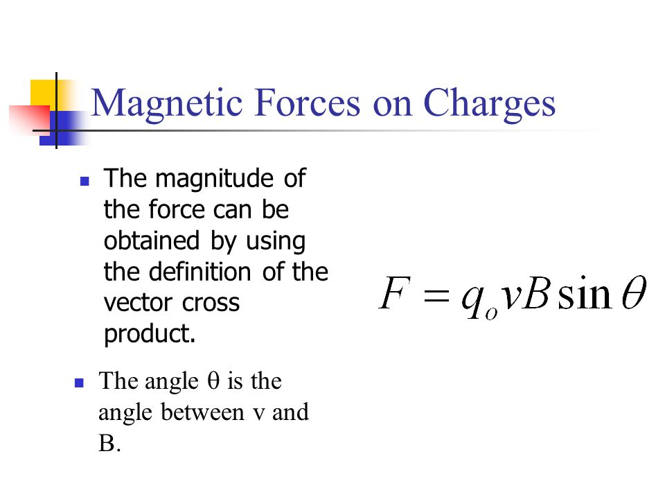 Magnetic Forces on Charges The angle  is the angle between v and B. The magnitude of the force can be obtained by using the definition of the vector