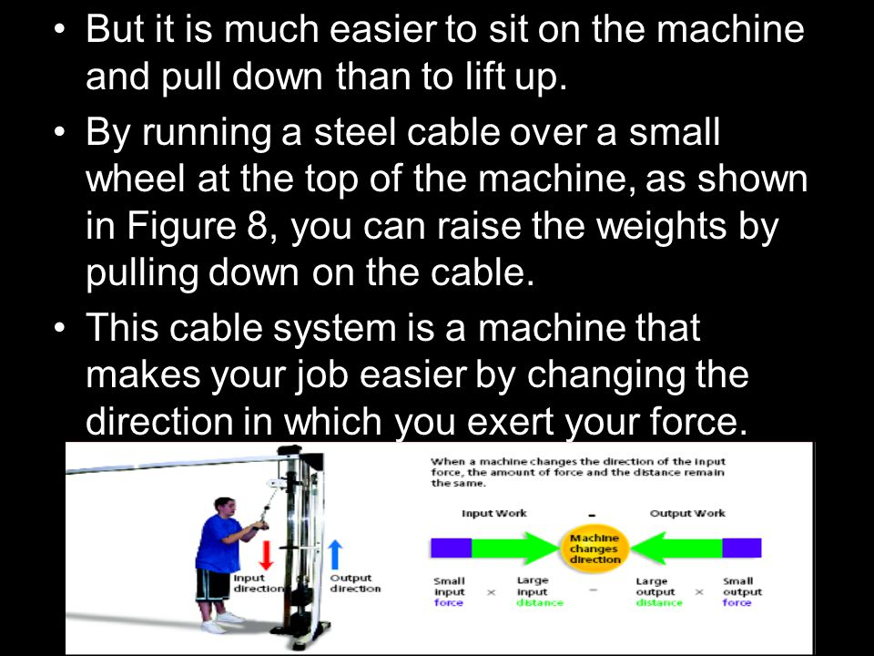 But it is much easier to sit on the machine and pull down than to lift up.