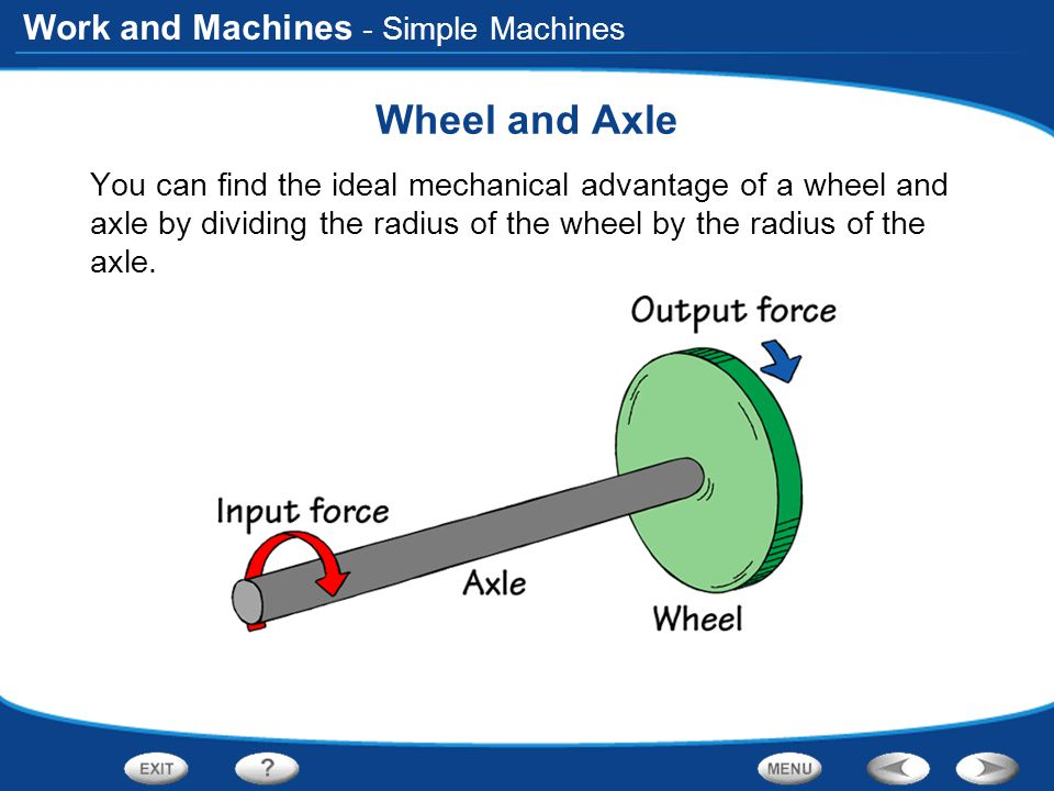 Work and Machines - Simple Machines Wheel and Axle You can find the ideal mechanical advantage of a wheel and axle by dividing the radius of the wheel