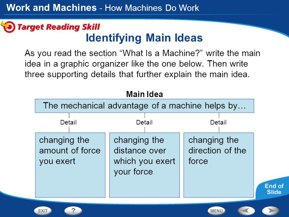 Work and Machines Main Idea Detail Identifying Main Ideas As you read the section What Is a Machine? write the main idea in a graphic organizer like the one below.