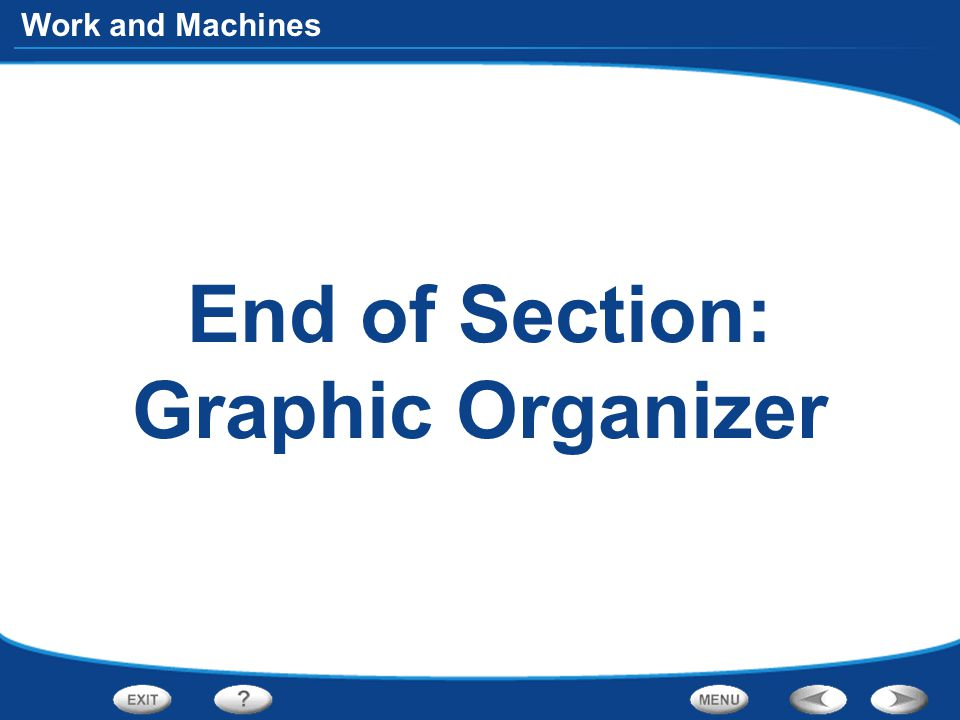 Work and Machines End of Section: Graphic Organizer
