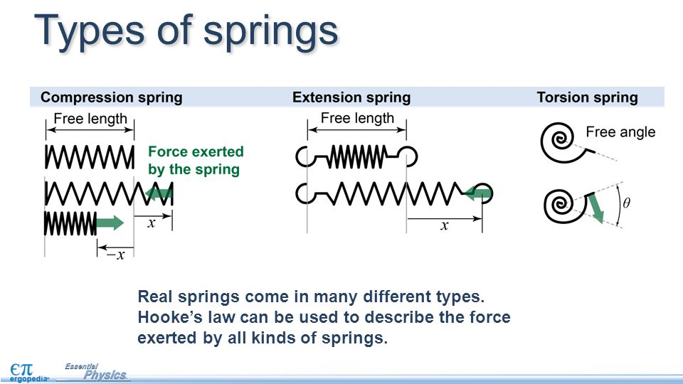 Types of springs Real springs come in many different types.