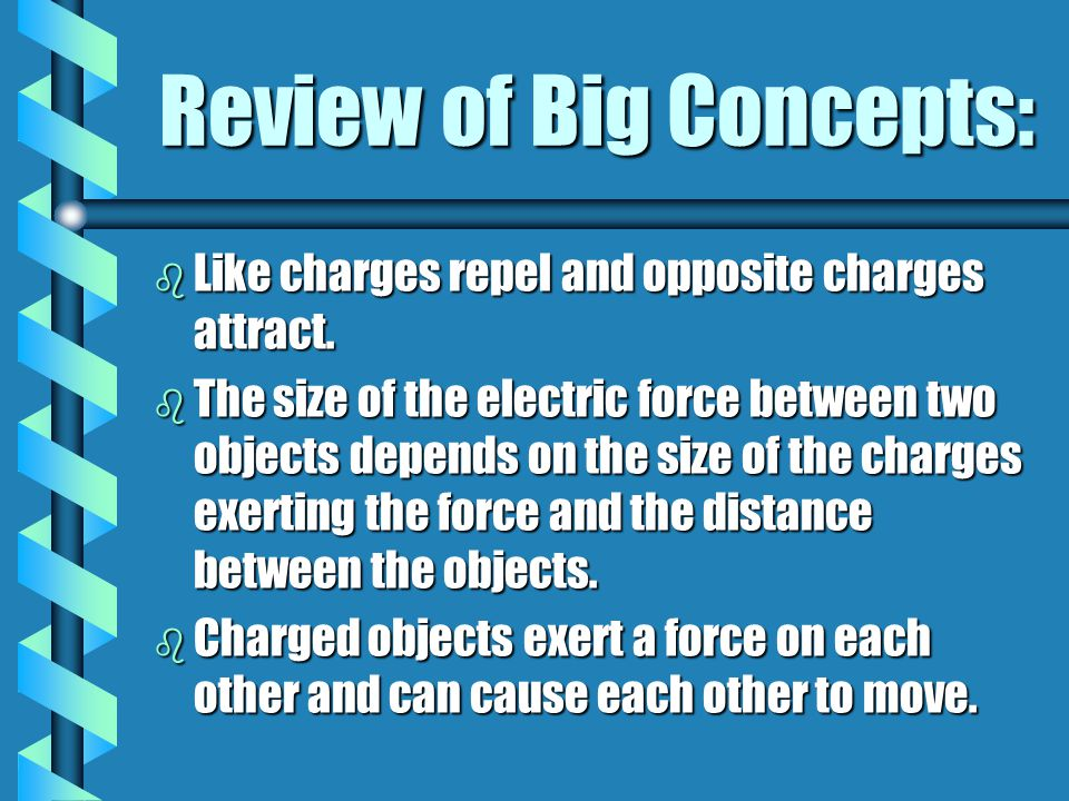 Review of Big Concepts: b Like charges repel and opposite charges attract. b The size of the electric force between two objects depends on the size of