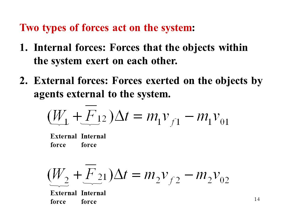 14 Two types of forces act on the system: 1.Internal forces: Forces that the objects within the system exert on each other. 2.External forces: Forces