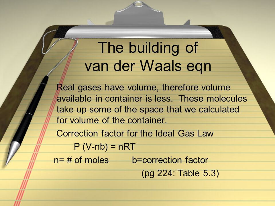 The building of van der Waals eqn Real gases have volume, therefore volume available in container is less. These molecules take up some of the space t