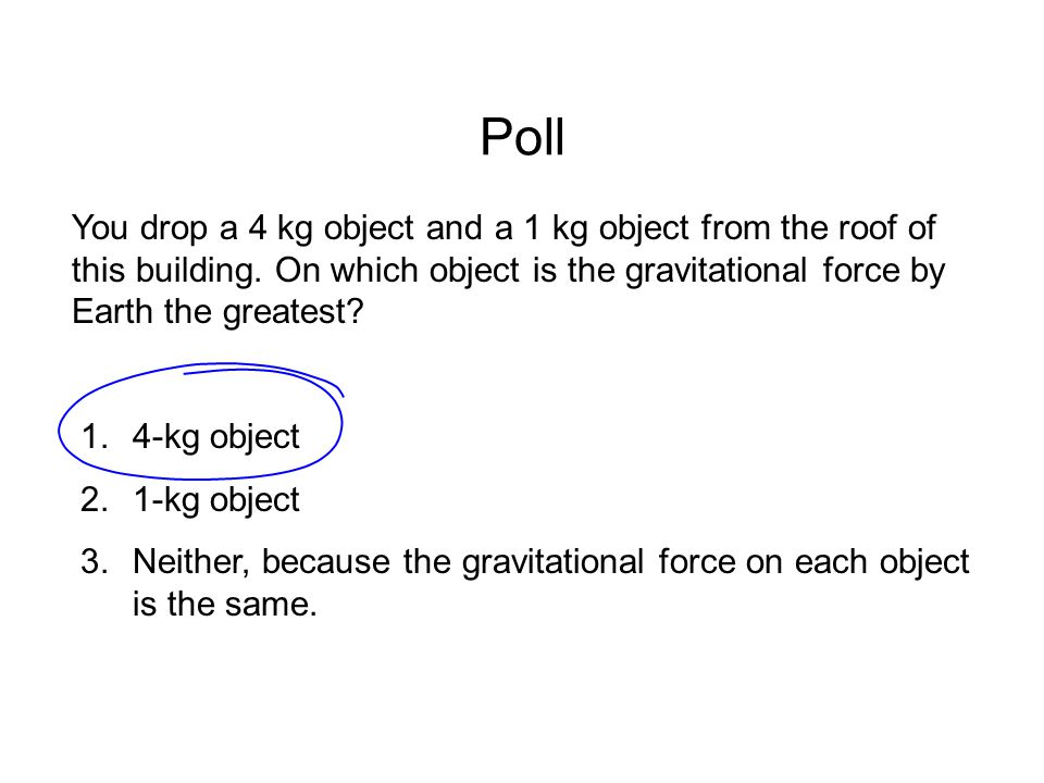 Poll You drop a 4 kg object and a 1 kg object from the roof of this building. On which object is the gravitational force by Earth the greatest? 1.4-kg