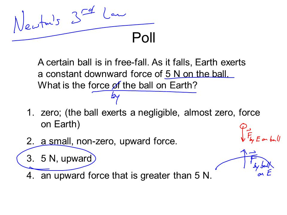 Poll A certain ball is in free-fall. As it falls, Earth exerts a constant downward force of 5 N on the ball. What is the force of the ball on Earth? 1