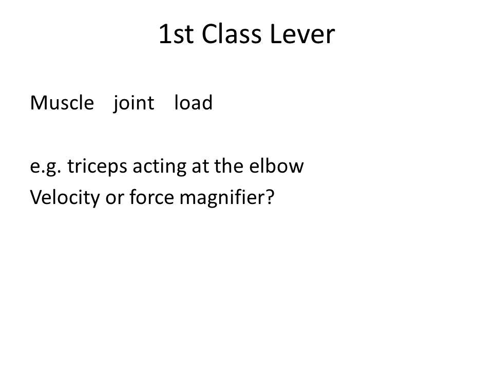 1st Class Lever Muscle joint load e.g. triceps acting at the elbow Velocity or force magnifier?