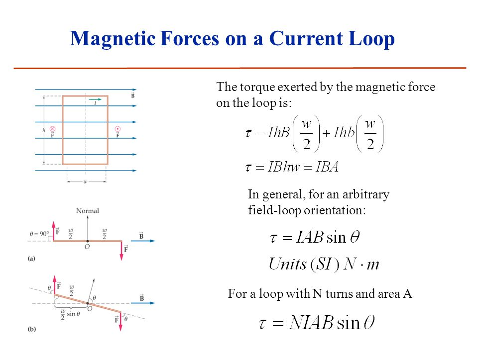 Magnetic Forces on a Current Loop The torque exerted by the magnetic force on the loop is: In general, for an arbitrary field-loop orientation: For a loop with N turns and area A