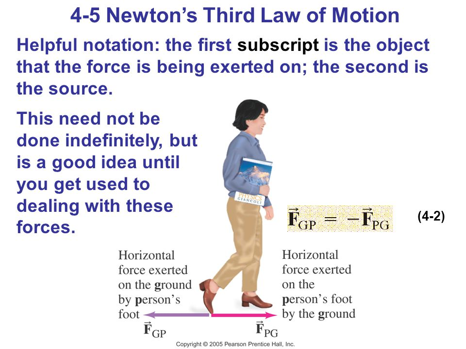 4-5 Newton's Third Law of Motion Helpful notation: the first subscript is the object that the force is being exerted on; the second is the source. Thi