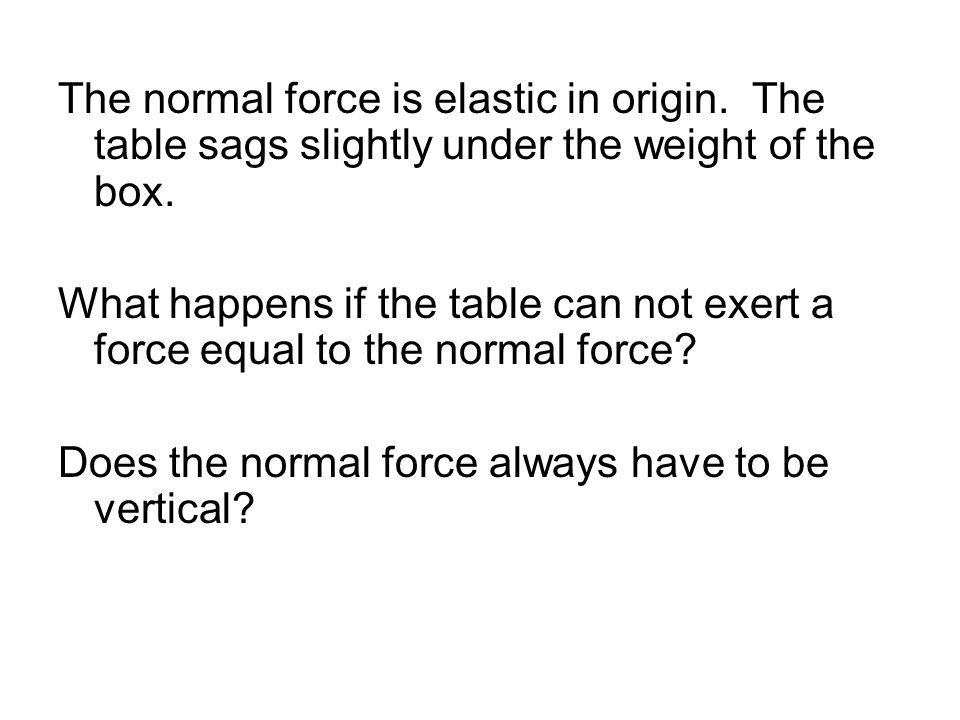 The normal force is elastic in origin. The table sags slightly under the weight of the box. What happens if the table can not exert a force equal to t