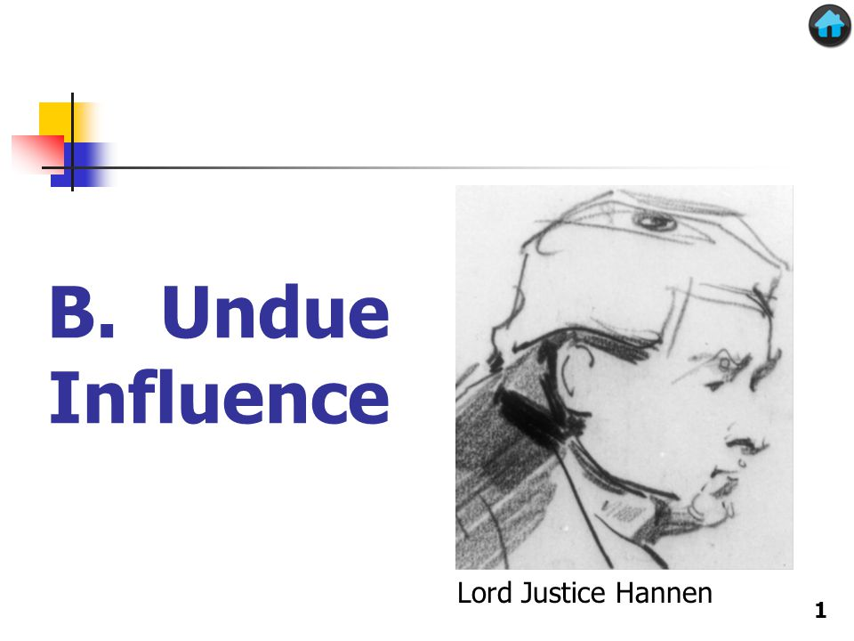 B. Undue Influence Lord Justice Hannen 1
