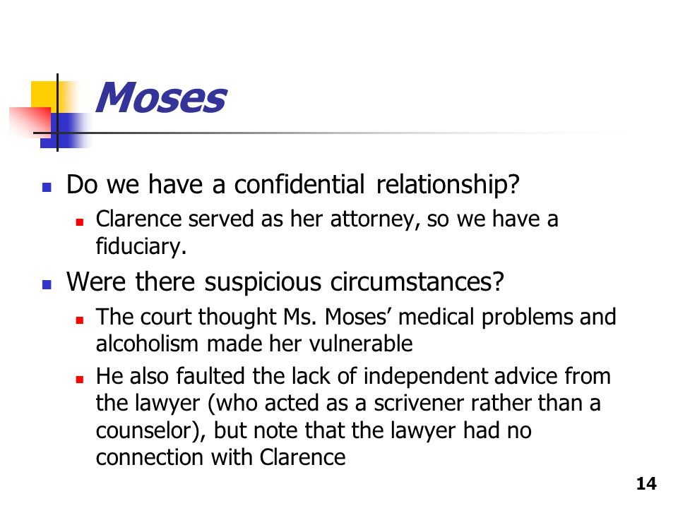 Moses Do we have a confidential relationship.