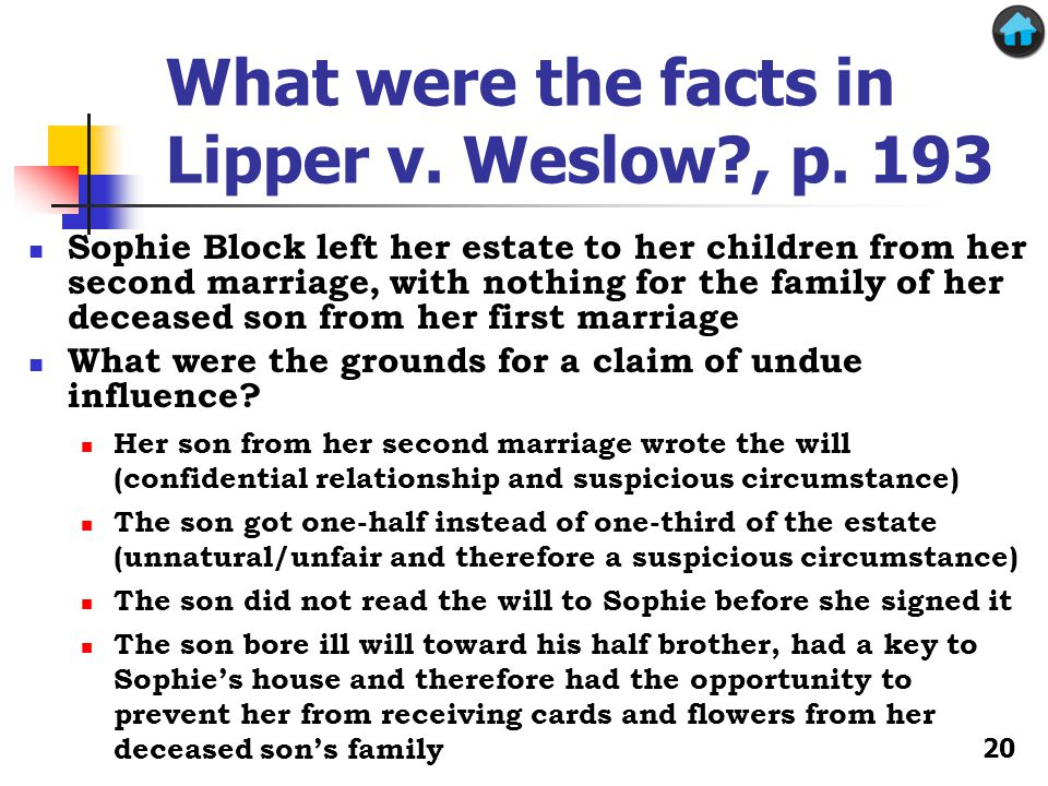 What were the facts in Lipper v. Weslow , p.