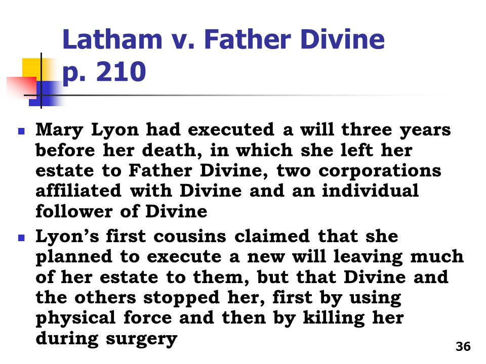 Latham v. Father Divine p.