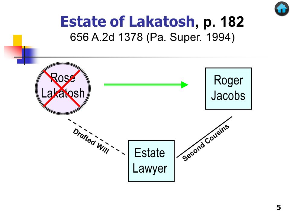 Rose Lakatosh Roger Jacobs Estate Lawyer Drafted Will Second Cousins Estate of Lakatosh, p.