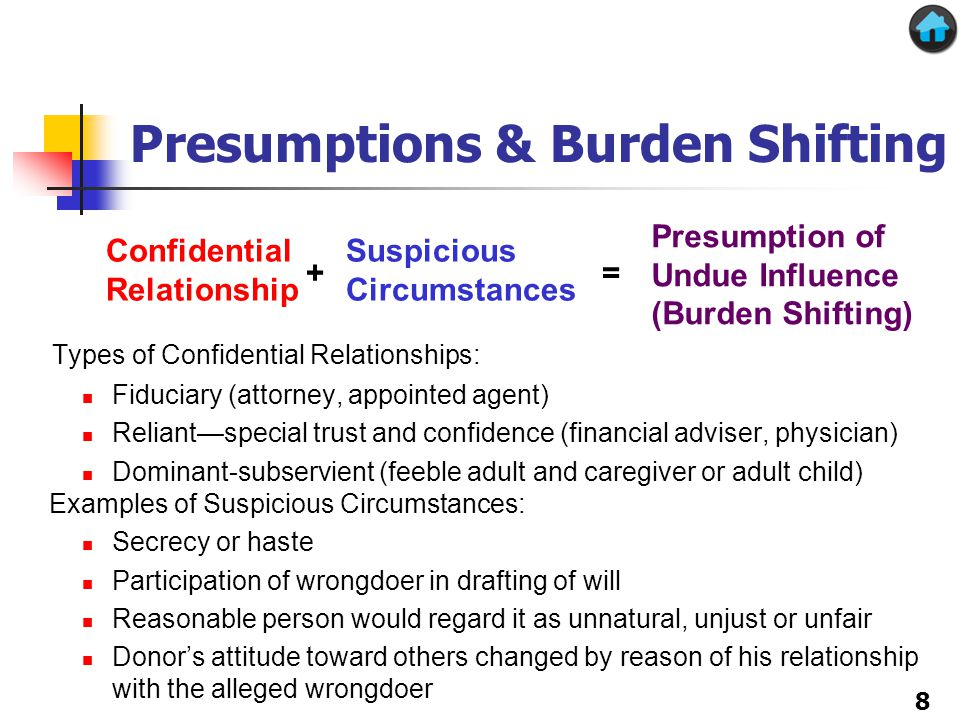 Presumptions & Burden Shifting Types of Confidential Relationships: Fiduciary (attorney, appointed agent) Reliant—special trust and confidence (financial adviser, physician) Dominant-subservient (feeble adult and caregiver or adult child) Examples of Suspicious Circumstances: Secrecy or haste Participation of wrongdoer in drafting of will Reasonable person would regard it as unnatural, unjust or unfair Donor's attitude toward others changed by reason of his relationship with the alleged wrongdoer Confidential Relationship Suspicious Circumstances Presumption of Undue Influence (Burden Shifting) += 8