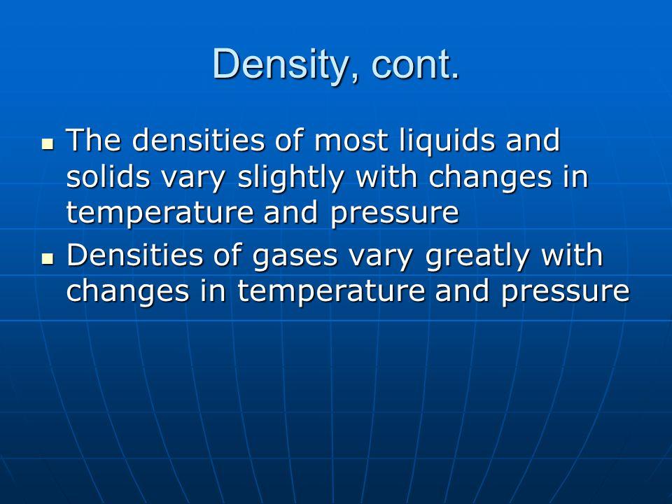 Density, cont.