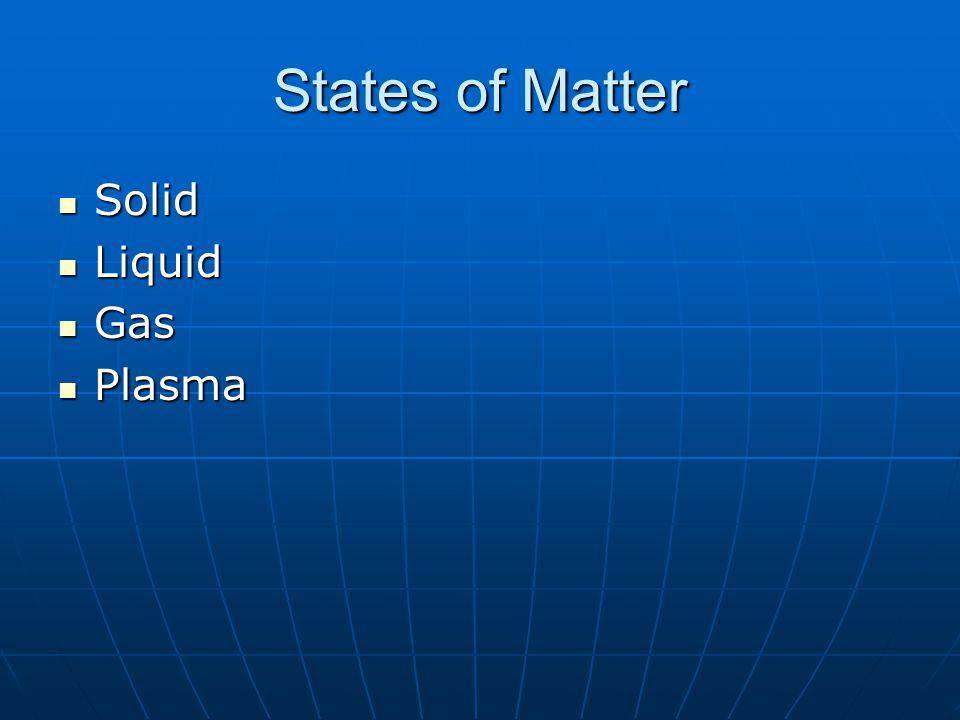 States of Matter Solid Solid Liquid Liquid Gas Gas Plasma Plasma