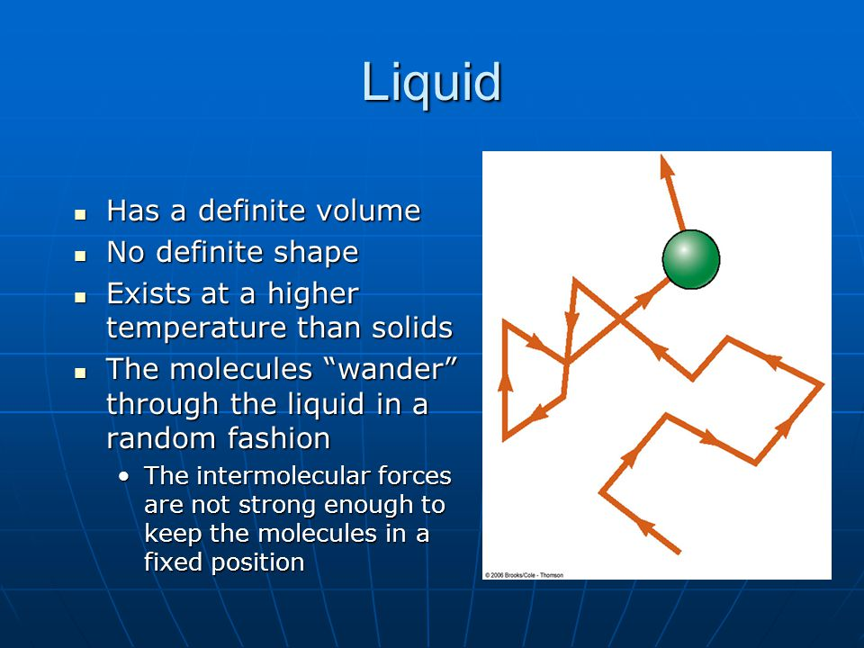 Liquid Has a definite volume Has a definite volume No definite shape No definite shape Exists at a higher temperature than solids Exists at a higher temperature than solids The molecules wander through the liquid in a random fashion The molecules wander through the liquid in a random fashion The intermolecular forces are not strong enough to keep the molecules in a fixed positionThe intermolecular forces are not strong enough to keep the molecules in a fixed position