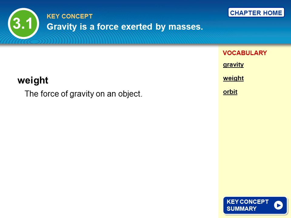 VOCABULARY KEY CONCEPT CHAPTER HOME The upward force on objects in a fluid; often called buoyancy.