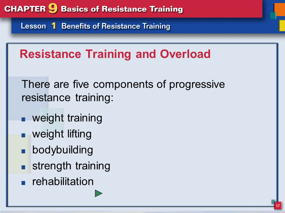 17 Resistance Training and Overload There are five components of progressive resistance training: weight training weight lifting bodybuilding strength training rehabilitation
