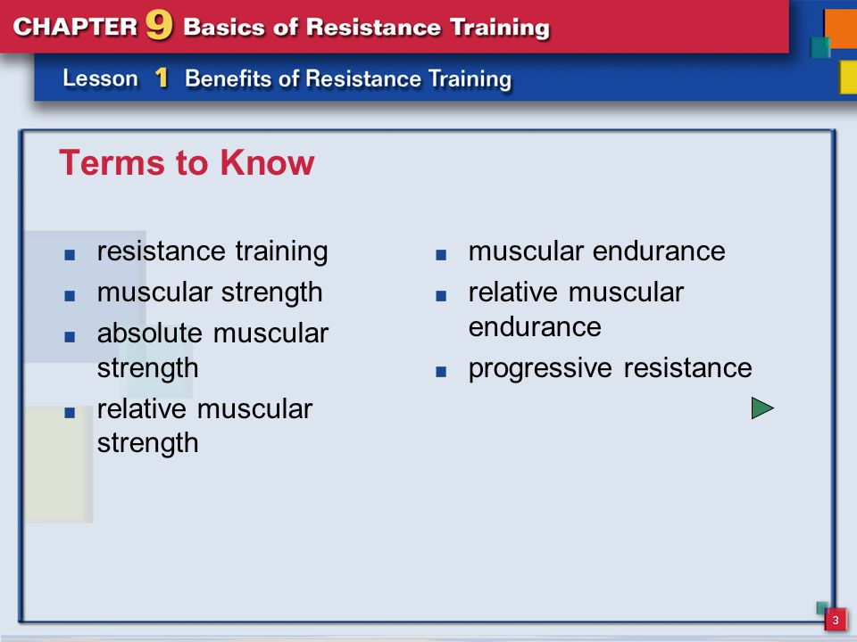 3 Terms to Know resistance training muscular strength absolute muscular strength relative muscular strength muscular endurance relative muscular endurance progressive resistance