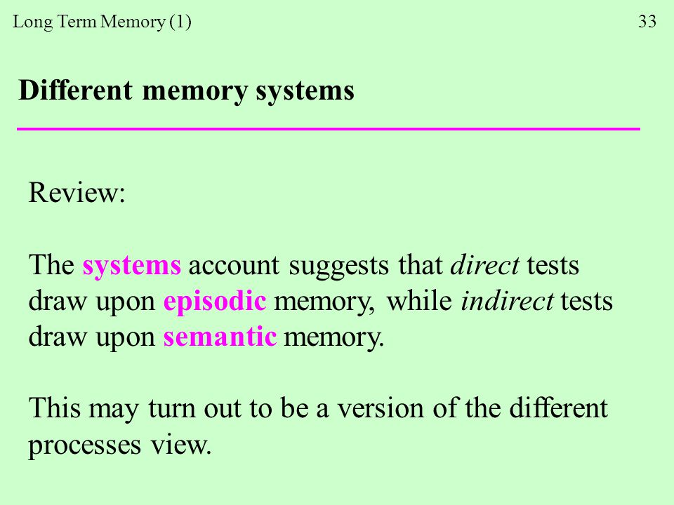 Long Term Memory (1) 33 Different memory systems Review: The systems account suggests that direct tests draw upon episodic memory, while indirect tests draw upon semantic memory.